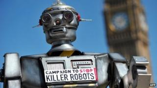 """A mock """"killer robot"""" in central London - part of a protest calling for a ban on such weapons in London on 23 April 2013"""