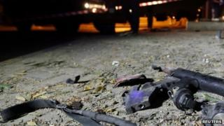 Remnants of a tear gas gun at scene of Wednesday's explosion