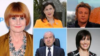Mary Portas, Kirstie Allsopp, Jamie Oliver, Lord Sugar, Tanya Byron