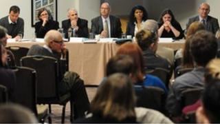 Panel and audience at public health debate at Durham University