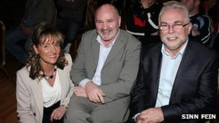 Paul Kavanagh, on the right, with his wife Martina Anderson and Sinn Fein MLA Alex Maskey