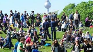 Crowd in a Berlin park - file pic