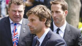 Iain Percy (centre) and Sir Ben Ainslie