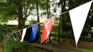 Bunting for Andrew Simpson's funeral