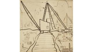 Study of a Crane by LS Lowry