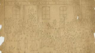The Royal Exchange by LS Lowry