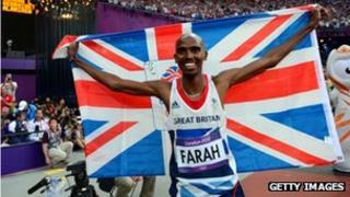 Mohamed Farah gold medal win in 5000m final, London 2012