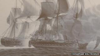 HMS Shannon and the USS Chesapeake in Massachusetts Bay in 1813