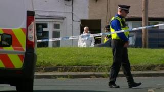 Police officers outside the house in Chells Grove