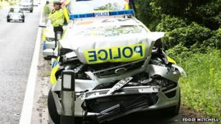 Damaged police car