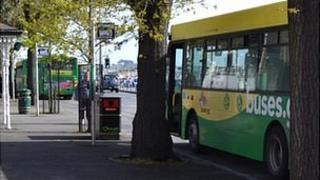 Buses at the terminus in St Peter Port
