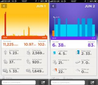 Data about Rory's activity, displayed on a mobile phone