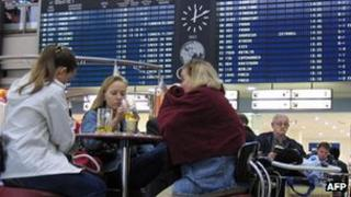 Passengers waiting at Sheremetevo airport