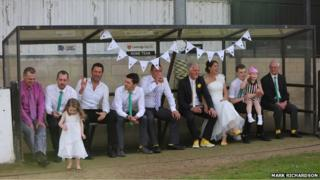 Aves wedding party sitting in Cambridge City FC dugout