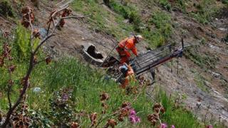Engineers carrying out soil nailing on the south side slopes of Beaminster Tunnel