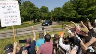Protesters at the Bilderberg conference