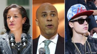 Susan Rice, Cory Booker and Justin Bieber