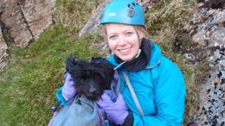 Sutty the dog and Sian Williams