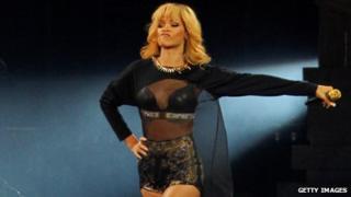 Rihanna in concert at the Millennium Stadium