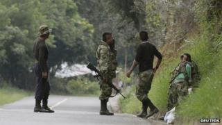 Farc rebels in Caldono, Cauca province, on 4 June 2013