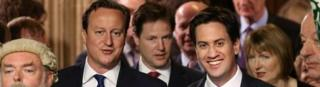 David Cameron, with Ed Miliband and Nick Clegg behind, at the State Opening of Parliament