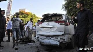 Back of Italian embassy car damaged by a bomb, Tripoli, 11 June 2013