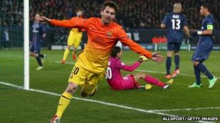 Lionel Messi celebrates a goal against PSG in a Champions League match. Photo: April 2013