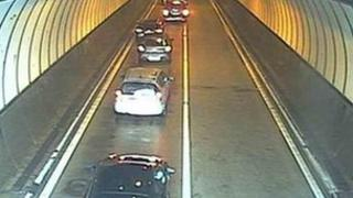 Traffic inside the tunnel. Picture: Traffic Wales