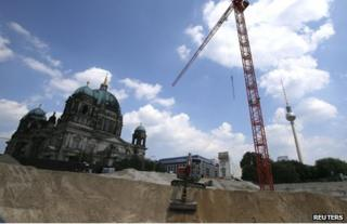 The construction site for the royal palace being rebuilt in Berlin, 12 June