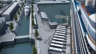 A computer-generated image of the new berth for cruise ships arriving in Belfast