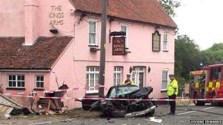 Car crashes into Kings Arms at Lawford, Essex