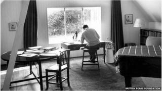 Benjamin Bitten in his studio at Red House