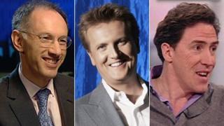 (Left to right): Michael Moritz, Aled Jones, Rob Brydon