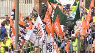 Marching GMB members