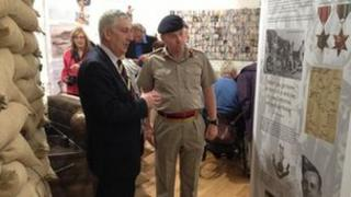 Lindsay Hoyle MP with Corps Colonel Phil Harrison of the Army Medical Services