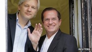 Julian Assange and Ecuador's Foreign minister, Ricardo Patino.