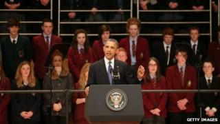President Barack Obama speaks in the Waterfront Hall in Belfast, Northern Ireland 17 June 2013