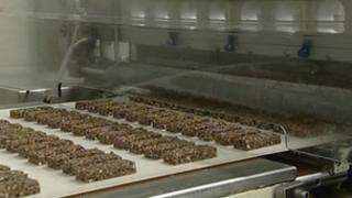 Snack bars on a factory conveyor belt