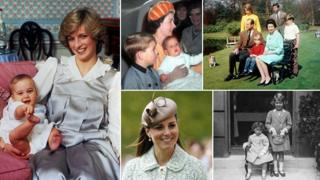 Princess Diana and baby William; the Queen with her family; the Queen and Princess Margaret as children; Duchess of Cambridge