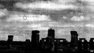 "Undated handout photo issued by The National Archives of a photograph apparently showing a ""UFO"" by Stonehenge, Wiltshire, January 2009"