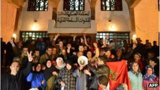 People protesting in favour of Saharawi defendants at a court in Rabat, Morocco, February 2013