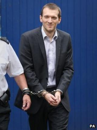 Jeremy Forrest in handcuffs