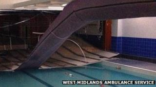 Ceiling collapse at swimming pool