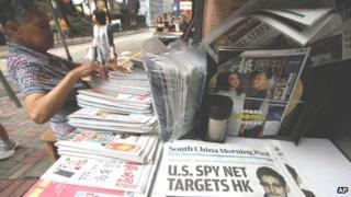 Edward Snowden makes headline news in Hong Kong on 13 June 2013