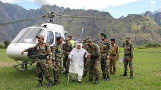 The India Army continues to rescue people from the flood-affected areas in Uttarakhand