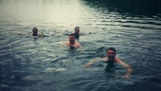 Four 'volunteers' taking an early morning dip in Lough Erne
