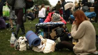 People arrive at Glastonbury