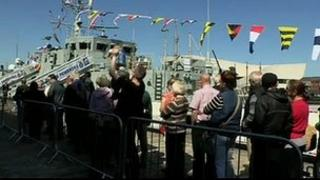 Visitors queuing during the Battle of the Atlantic commemorations in Liverpool
