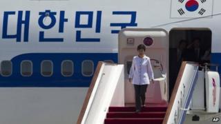 South Korean President Park Geun-hye arrives in Beijing on 27 June 2013