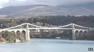The Menai suspension bridge which spans the Menai Strait between Anglesey and the mainland of north Wales